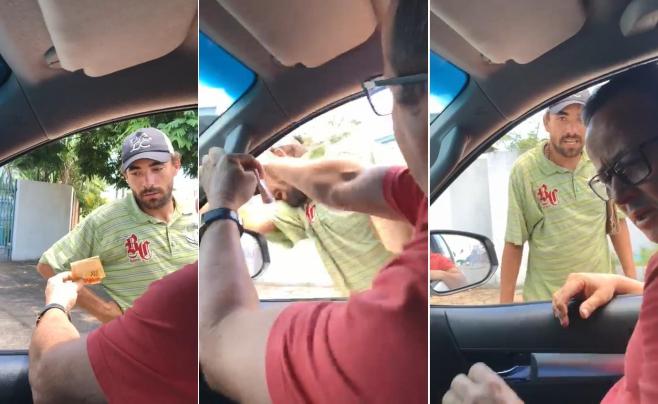Empresário oferece esmola e dá tapa na cara de mendigo; veja vídeo